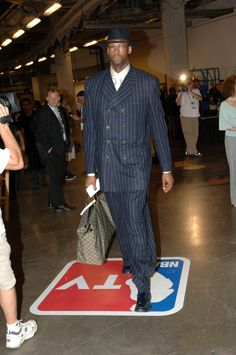Erick Dampier, hat, pinstripe suit #zootsuite #mobster *Get paid for your sports passion at www.sportsblog.com
