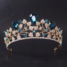 Azul Clássico Acessórios Do Cabelo Do Casamento da Cor do ouro Folha de Cristal Rhinestone Prom Crown Nupcial Pageant Tiaras de Cabelo Jóias alishoppbrasil