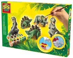 Maak de mooiste beeldwerkjes van gips met SES Creative. Deze gipsen dinosauriërs giet je in de bijgeleverde mallen. Daarna beschilder je ze in natuurlijke kleuren. Zo komen de dinosauriërs tot leven.