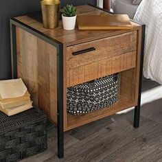 Stylish and affordable this industrial style range radiates industrial chic. The range comprises of a bed, 4 and 2 door wardrobe, dressing table, 3 draw chest and bedside cabinet. With black metal frames and drawer handles, this bedroom set has a modern 3 Drawer Bedside Table, Bedside Drawers, Bedside Cabinet, Bedside Tables, Wooden Bedside Table, Bedside Table Styling, Metal Nightstand, Bedroom Drawers, Bedside Chest