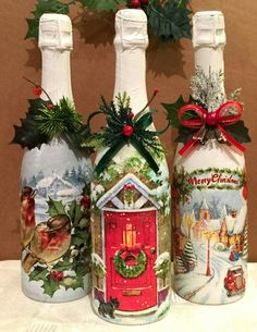 Shabby Chic Jars, Painted - Quilling Deco Home Trends Recycled Glass Bottles, Glass Bottle Crafts, Bottle Art, Christmas Decoupage, Christmas Crafts For Kids, Christmas Decorations, Shabby Chic Jars, Wine Bottle Candles, Wine Glass