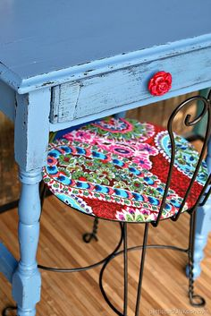 Rose red drawer pull is perfect for the bombshell blue desk. The vintage table…