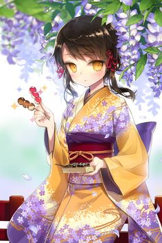 Yellow & purple kimono design in manga with purple wisterias above her head