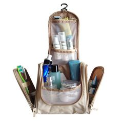 SunKni Cosmetic Travel Bag Makeup Organizer Bathroom Storage Tote Zipper Pouch Drawer Dividers Hanging Toiletry Bag with Compartments for Men Women Boys Girls (New Beige) >>> Visit the image link more details.
