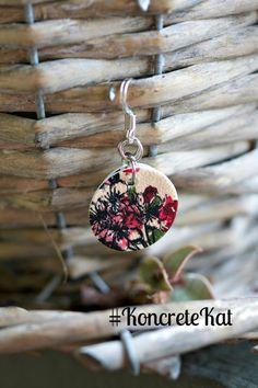 Pink and Green Floral with Black Outline Vintage by KoncreteKat