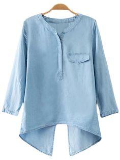 Shop Blue Fake Pocket Cross Back Denim Blouse online. SheIn offers Blue Fake Pocket Cross Back Denim Blouse & more to fit your fashionable needs.