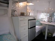 Aqua Blue & White Camper Trailer