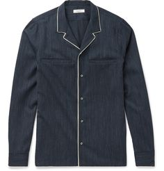 Valentino - Contrast-Tipped Camp-Collar Virgin Wool Shirt