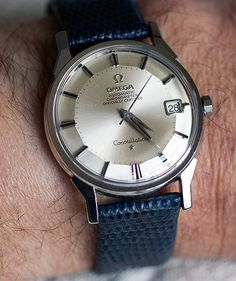 Very Similar to my grandfathers Watch I was given for my 30th birthday.   Omega Constellation Piepan Chronometer On Blue Lizard Strap Circa 1960s