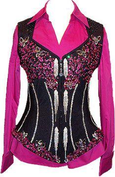 Black and Pink Vest Set Love the neck line.