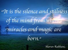 """""""It is the silence of the mind from whence miracles and magic are born.""""  Harun Rabbani www.exposeillusions.com"""