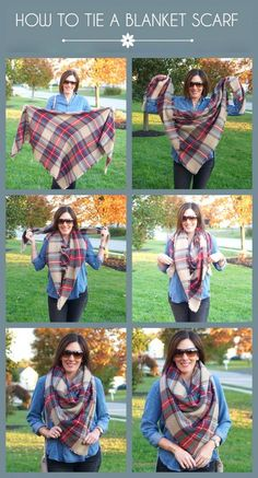How to Tie A Blanket Scarf Kerchief Style Click through for more great Fall and Winter Fashion and style tips! Jo Lynne Shane
