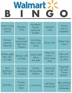 Wal-Mart BINGO, totally doing this when I have spare time