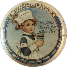 Mentholatum Little Nurse for Little Ills Tiny Tin Litho Graphics