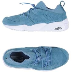 Puma Low-tops & Trainers ($89) ❤ liked on Polyvore featuring shoes, sneakers, pastel blue, leather flat shoes, flat sneakers, blue sneakers, blue leather sneakers and low profile sneakers
