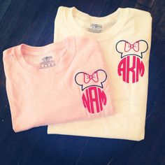 Miss Mouse Monogram Short/Long Sleeve T-Shirt Disney Shirts For Family, Shirts For Teens, Couple Shirts, Disney Applique, Monogram Shorts, Embroidered Shorts, Belleza Natural, Disney Outfits, Long Sleeve Tops