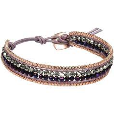 Nakamol Bracelet ($27) ❤ liked on Polyvore featuring jewelry, bracelets, mauve, leather jewelry, leather bangle, nakamol jewelry, nakamol and adjustable bangle