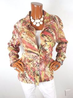 CHICO'S Sz 2 Womens Top M L Summer Jacket Blouse Casual Shirt Coral Green Pink #Chicos #Blouse #Casual