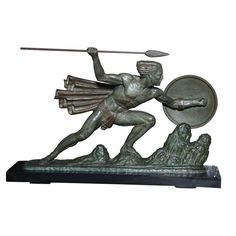 """French Art Deco Sculpture on Marble """"Warrior"""""""