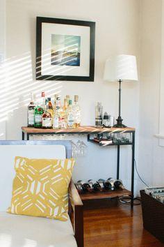 IKEA Hack: DIY wood and metal bar cart using a VITTSJO laptop table