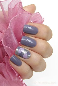 A England Guinevere with fishtail accent nail in Orly Dazzle (well pigmented silver) and Lumene First Spring.  from Mari's Nail Polish Blog (beautiful photo!)