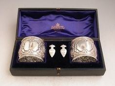 Cased Pair Victorian Silver Napkin Rings & Napkin Clips En Suite | Steppes Hill Farm Antiques | http://www.steppeshillfarmantiques.com/silver-and-porcelain/silver/boxes