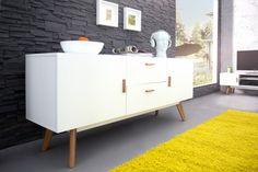 Design Sideboard SCANIA MEISTERSTÜCK 160cm weiß Echt Eiche Anrichte