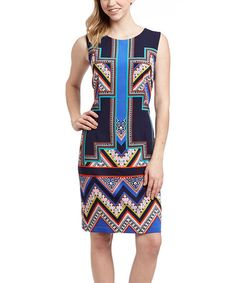 Look what I found on #zulily! Navy Blue & Red Abstract Sheath Dress #zulilyfinds