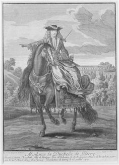Equestrian portrait of Marie-Louise-Elisabeth d'Orléans (The Duchess of Berry in hunting-costume in 1710)