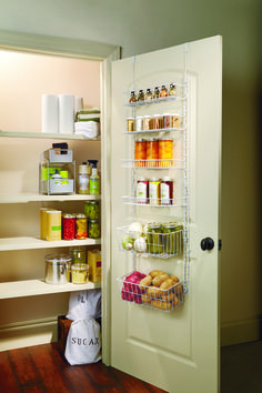Over-the-door pantry racks easily mount over a door or on a wall. Provides maximum storage even if you have a small space. Pantry Door Storage, Pantry Rack, Pantry Shelving, Home Office Storage, Diy Kitchen Storage, Kitchen Decor, Kitchen Ideas, Small Pantry Organization, Organizing Ideas