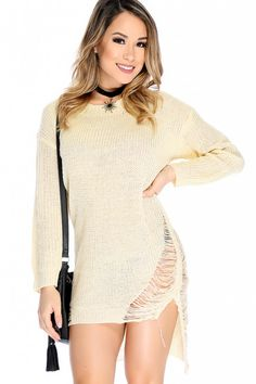 Sexy Cream Long Sleeve High-Low Hem Distress Sweater Dress #valentinseday #Coupons #gifts #Dresses