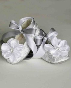 Silver Toddler shoes - Baby Flower Girl Shoe also Gold, Ivory, White - Christening Baby Shoe - Easter Ballet Slipper - Baby Souls Baby Shoes Toddler Flower Girl Shoes, Flower Girl Tutu, Baby Girl Shoes, Toddler Shoes, Girls Shoes, Baby Flower, Flower Shoes, Ribbon Flower, Baby Girls