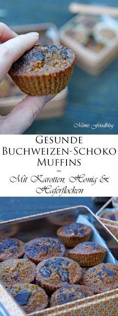Die gesunden Buchweizen-Schoko-Muffins mit Karotten und Haferflocken schmecken nussig und kommen ganz ohne Zucker aus. Die etwas anderen Schoko-Muffins.