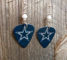 White Star Cowboys Guitar Picks with White Crystals by ItsYourPickToo on Etsy