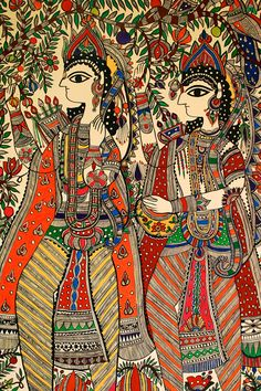 Mithila painting on a wall from the Ramayana.