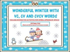 We welcome you to explore our wonderful winter wonderland! We have designed a large winter themed unit for your younger apraxia students who need to work on their productions of VC, CV and CVCV words. We just know that they are going to enjoy the super cute and fun winter themed animals and objects seen in this extensive therapy document of 103 pages!