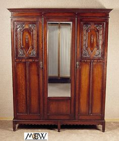 Large Antique Solid Oak 2 Door Armoire Wardrobe Closet c18b