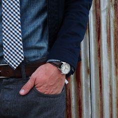 Gingham tie in blue