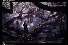 RPG setting inspiration - dark wook, cages in trees, prisoners Hp Lovecraft, Fantasy World, Dark Fantasy, Mtg Art, Fantasy Setting, Gothic Horror, Fantasy Landscape, Fantasy Artwork, Magic The Gathering