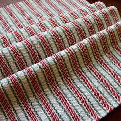 Handwoven Towel Christmas Dish Kitchen Cotton Linen Hand Woven Red White Green Candy Cane Stripes Large Twill Chef Hostess Gift by WovenTogetherCrafts on Etsy Weaving Yarn, Hand Weaving, Inkle Weaving, Christmas Dishes, Christmas Candy, Christmas 2019, Yellow Bamboo, Green Candy, Weaving Patterns