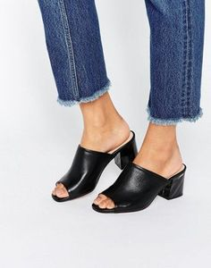 Shop KG By Kurt Geiger Hector Black Leather Mid Heeled Mules at ASOS.