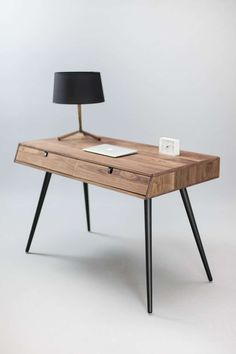 Classic Solid Walnut Wood Desk - Table Lamps - This desk table is so stylish in its simplicity. It features tapered legs and two/three drawers with carved round-outs for a sleek, hardware-less look. Handcrafted from solid wood with stunning grains, this piece features beautiful craftsmanship and superior joinery to last forever. Handmade...
