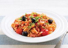 Oven-baked Salami and Tomato Risotto recipe for a dinner idea that's both healthy and full of flavour.