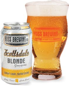 Scottsdale Blonde | Huss Brewing Company  Brewed similar to a lager, this local favorite is HUSS Brewing's flagship beer. Crisp, light, and refreshing with a slightly sweet finish.