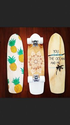 I already want a penny board really bad and these are even cuter! pineapple henna and an ocean theme Penny Boards, Art Boards, Penny Board Tumblr, Skateboard Design, Skateboard Decks, Penny Skateboard, Painted Skateboard, Board Skateboard, Longboard Decks