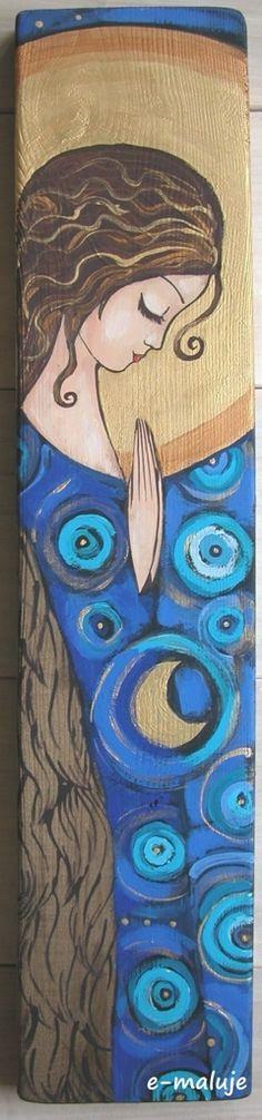 Anioł Brzemienny - Anioły - e-maluje Anioły na drewnie recznie malowane...hand made... Angel Angels Aniołek Anioł Stróż pamiątka chrztu Aniołek Stróż obraz ikona prezent na ślub, komunię , chrzest, urodziny, podziękowanie, WYJATKOWE MALARSTWO, KOLOROWY ŚWIAT PEŁEN DOBREJ ENERGII... - bloog.pl