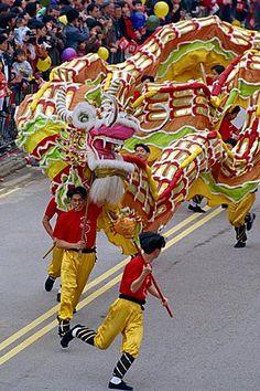 Dragon Dance, Chinese New Year Carnival, Hong Kong, China, Asia