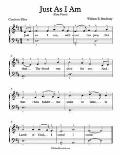 Easy Piano Lessons Easy Piano Arrangement Sheet Music – Just As I Am Beginner Piano Music, Easy Piano Songs, Guitar Chords For Songs, Music Chords, Easy Piano Sheet Music, Violin Sheet Music, Free Sheet Music, Music Sheets, Piano Lessons