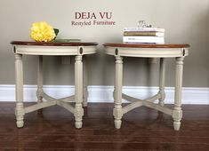 Restyled aprons, legs and crossbars. Original table tops preserved to showcase the beautiful inlay wood design and factory finish. Cross bars that add both style stability. Antique Bar, Antique Vanity, Vintage Dressers, Vintage Furniture, French Country Coffee Table, Barrel Table, Wood Design, Inlay Wood, Aprons