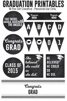 Graduation Printables - Add a handmade touch to your graduation party with these party printables. #classof2015 #graduationparty #freeprintables